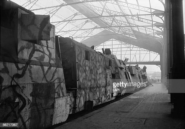 War 19391945 German armoured train put in display in the SaintLazare station Paris 1945