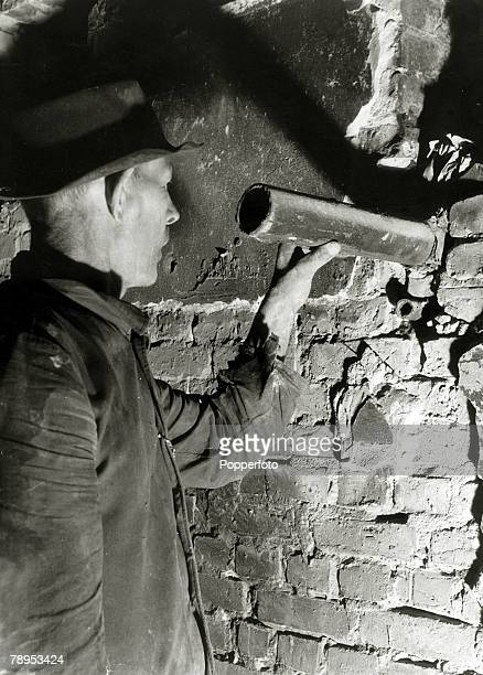 War and Conflict Post World War Two Germany pic circa 1947 A picture from inside the Gestapo headquarters ibn Berlin shows a pipe through a wall into...