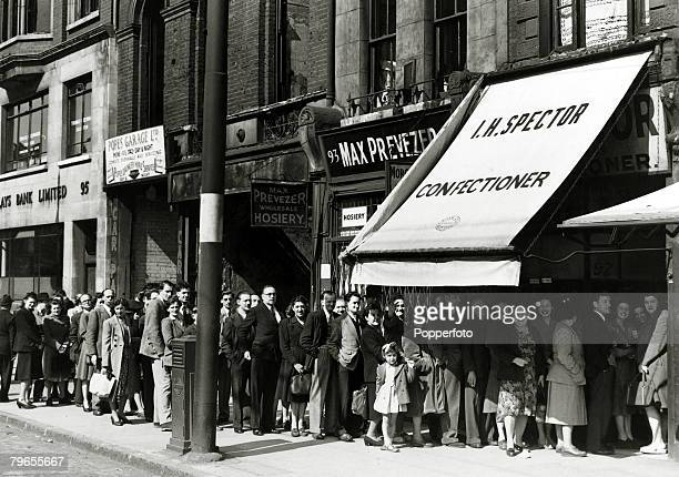 War and Conflict Post World War Two Great Britain Rationing pic April 1949 A queue outside a London confectioners on Shoreditch High Street as they...