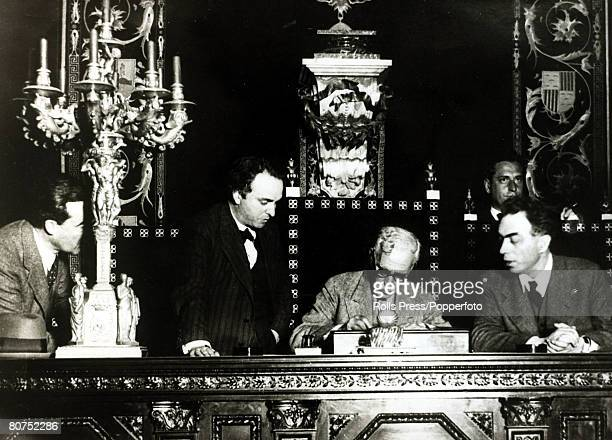 War and Conflict Spain Pre Spanish Civil War pic17th April 1931 Colonel Macia signing the proclomation of the Republic at Barcelona With what started...