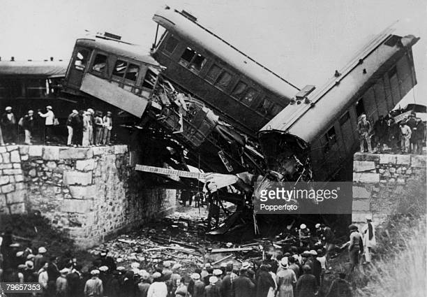 circa 1936 Wrecked coaches of the Barcelona Seville express train which was blown up by a contact bomb placed on a bridge near Valencia Thirty nine...