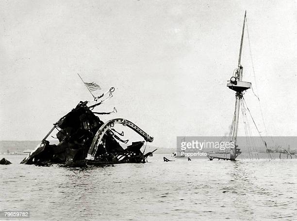War and Conflict SpanishAmerican War Havana Cuba The wreck of the USS 'Maine' destroyed by an explosion that killed most of her crew The second class...