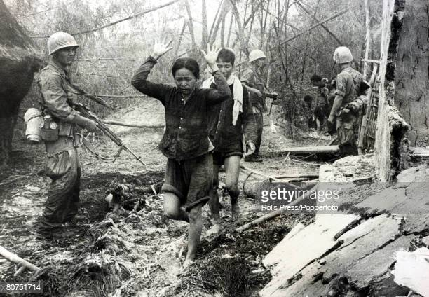 War and Conflict The Vietnam War near Khe Sanh South Vietnam pic September 1965 American soldiers of the marine corps usher Viet Cong suspects...
