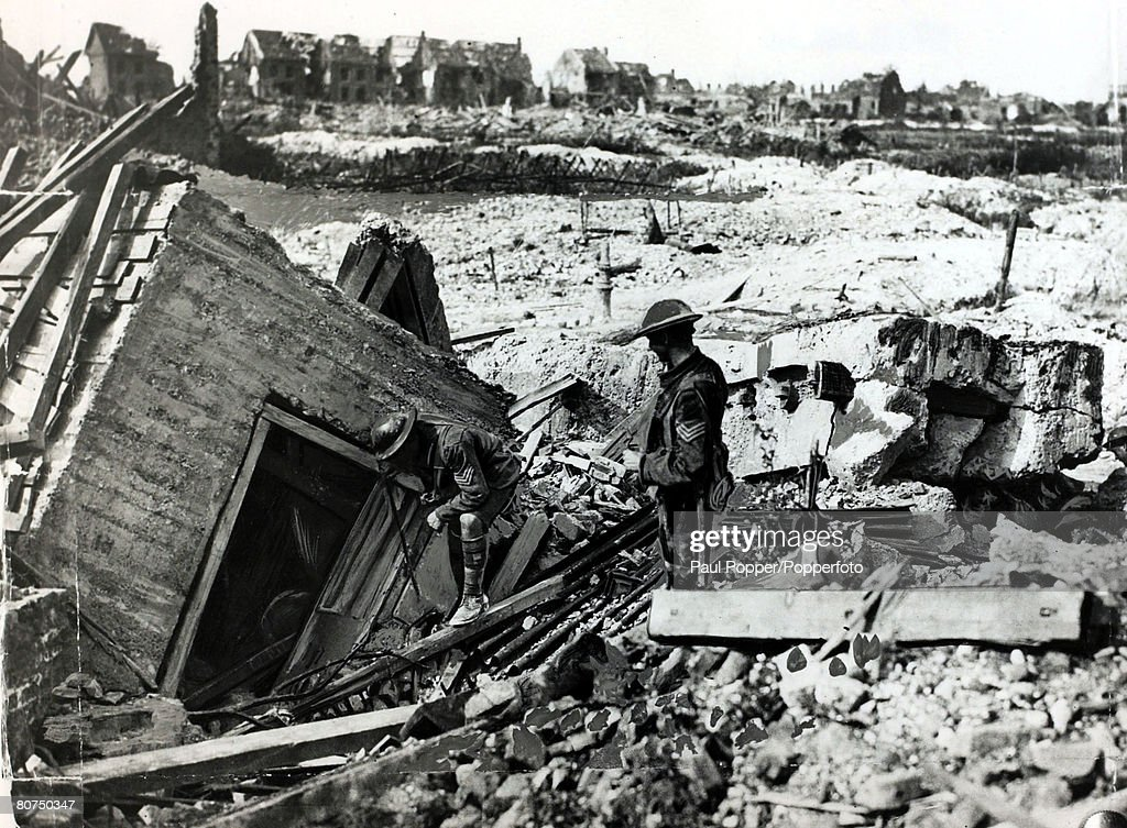 War and Conflict World War I 19141918 France British Military pic September 1917 A destroyed German machinegun emplacement of concrete reinforced...