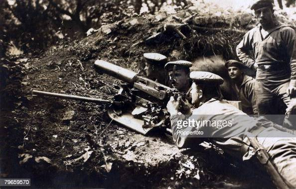 War and Conflict World War I 19141918 The German occupation of Belgium German marines with a light machinegun at Zeebrugge