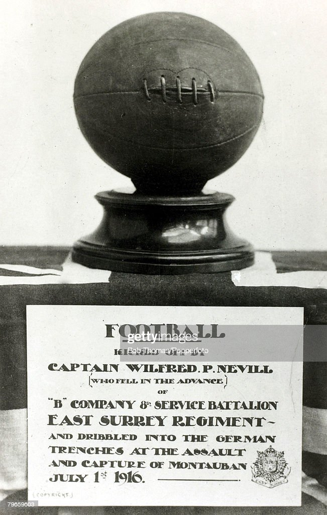 War and Conflict, World War I, (1914-1918), Battle of the Somme, France, 1st July 1916, The football used by British troops on the battlefield at Montauban, Captain Wilfred P,Nevill of the 8th East Surrey's introduced 4 footballs to his 4 platoons in an attempt to encourage them forward at zero hour, the idea being to see which platoon would be first to dribble the football up to the German front line