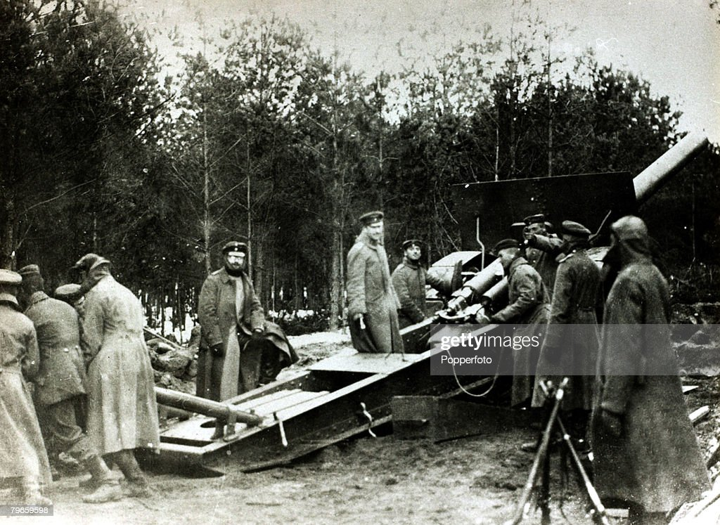War and Conflict World War I Battle of Verdun France German troops manning a gun around Verdun the Prussians on the edge of the wood of Hardoumont
