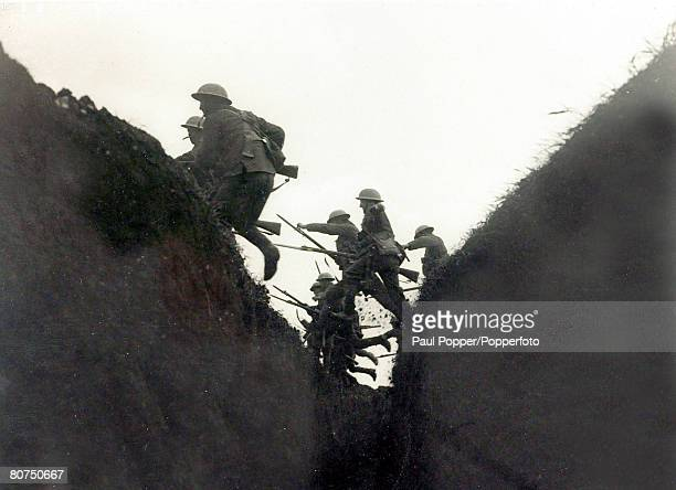 War and Conflict World War I British Military pic May 1916 Steel helmeted British soldiers in France practice their attack as they hurdle a trench