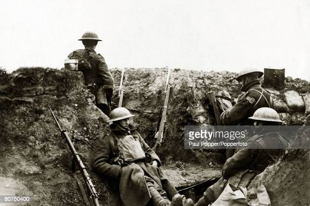 War and Conflict World War I British soldiers in a forward trench in the Ypres salient Belgium