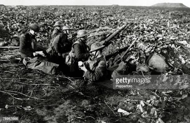 11th November 1918 France Relaxed Irish Guardsmen still at their posts some five minutes before the signing of the Armistice