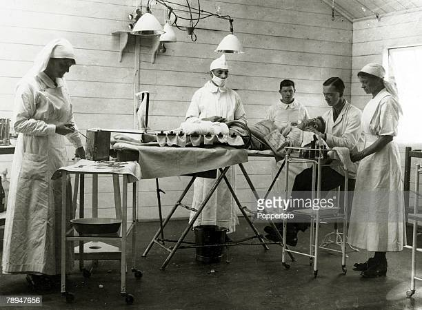 14th June 1917 A scene in the opearating theatre of the Duchess of Sutherland's Hospital Calais France