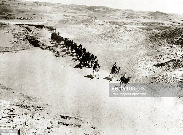 War and Conflict World War I The camel transport corps returning from watering on the Palestine front