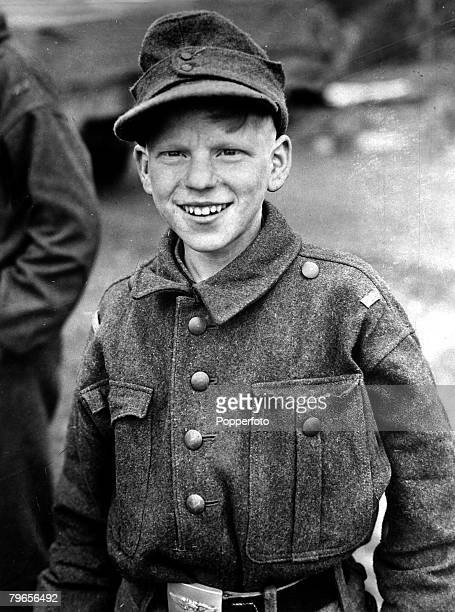 War and Conflict World War II People pic 24th April 1945 A 15 year old German boy 'soldier' captured during the fighting at Kulmback Germany