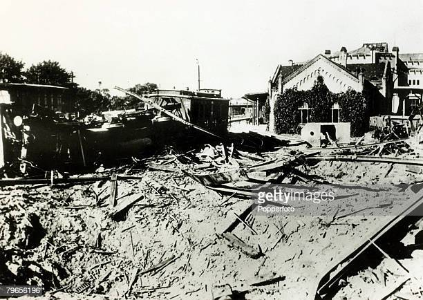 War and Conflict World War II pic 11th September 1939 The wreckage of a railway station near Danzig blown up by the Poles as they retreated from the...
