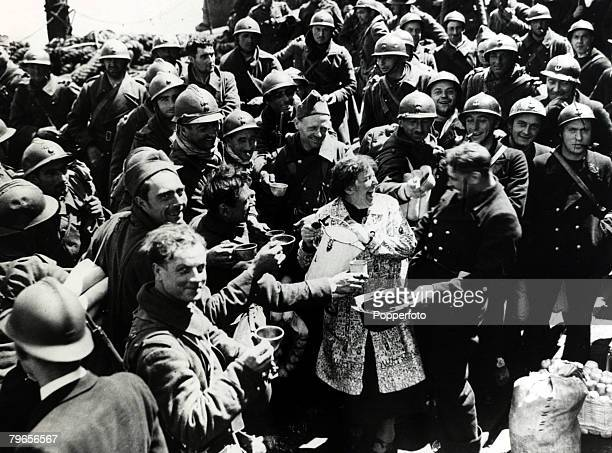 5th June 1940 The Battle of Dunkirk Refreshments for French soldiers and marines on arrival in England the men are some who fought a gallant...