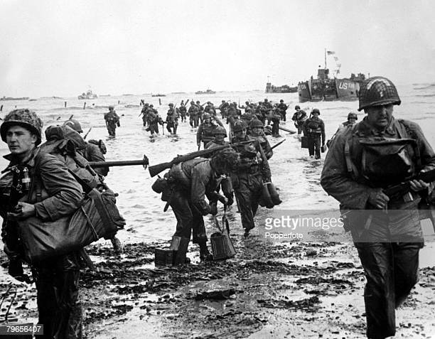 6th June 1944 American troops arrive on a French beach on DDay during the invasion of Europe