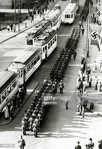 War and Conflict World War II pic August 1939 Nazi formations parade in Danzig to commemorate the 250th anniversary of the 5th Grenadier Regiment