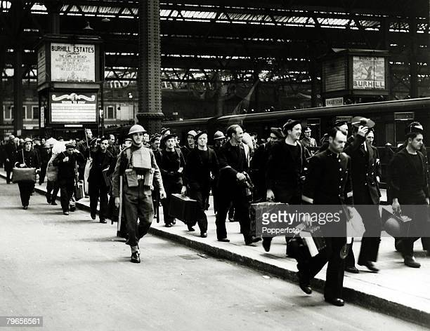 May/June 1940 The Battle of Dunkirk French sailors with their kit arrive at a London station after being evacuated from Northern France The Battle of...