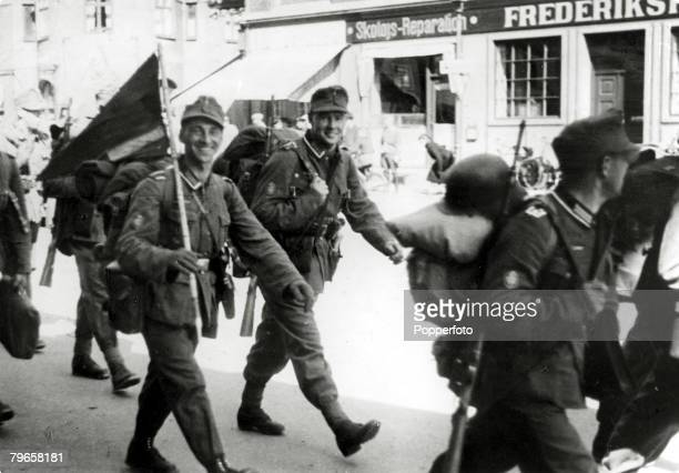 War and Conflict World War II The German occupation of Denmark pic circa 1940 German soldiers in good spirits on their way to new billets in a small...