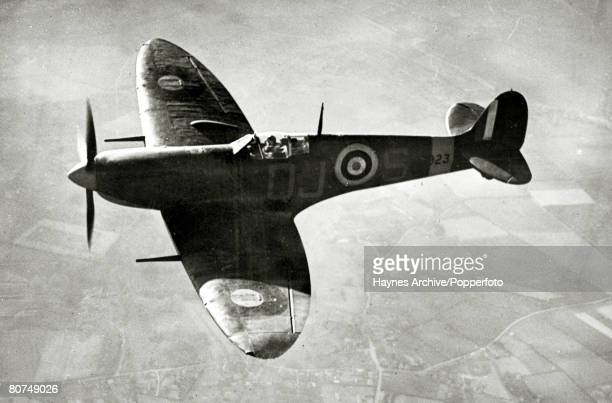War and Conflict World War Two Aviation pic circa 1941 A Supermarine 'Spitfire' in flight The ' Spitfire' was the most famous British fighter of...