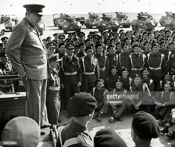 1942 British Prime Minister Winston Churchill adressing the 4th Hussars in Egypt