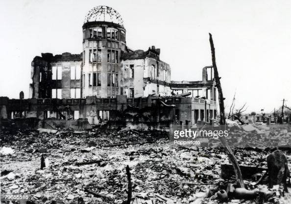 1945 The ruins of a cinema stand stark against the rubble after the Atom bomb attack on Hiroshima which was dropped on 8th August 1945