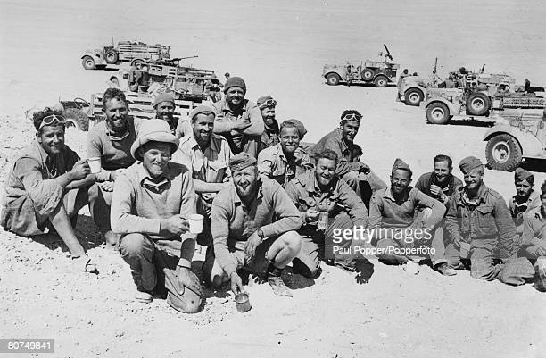 circa 1944 Western Desert Africa A New Zealand patrol of the Long Range Desert Group pictured resting and 'brewing up' for drinks This mobile force...