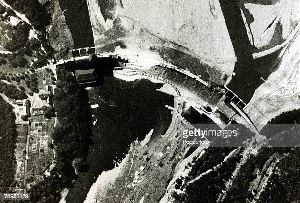 July1943 A reconnaissance photograph of the Eder Dam taken two months after the famous 'Dambusters' raid showing a 96 foot breach in the dam