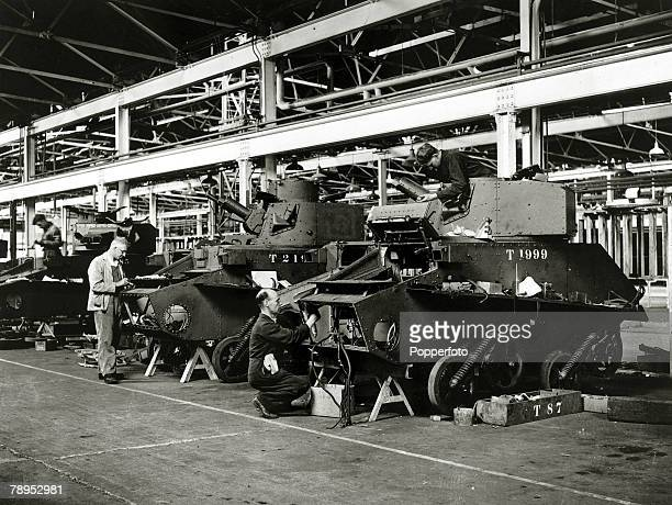 May 1941 Britain Arms Factories Workmen refitting and repairing tanks which were brought back from Dunkirk France
