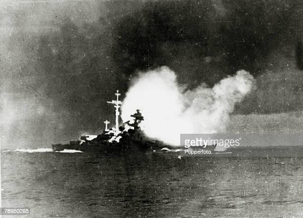 May 1941 The German battleship 'Bismarck' firing on the Royal Navy ship 'HMSHood' which sank almost immediately