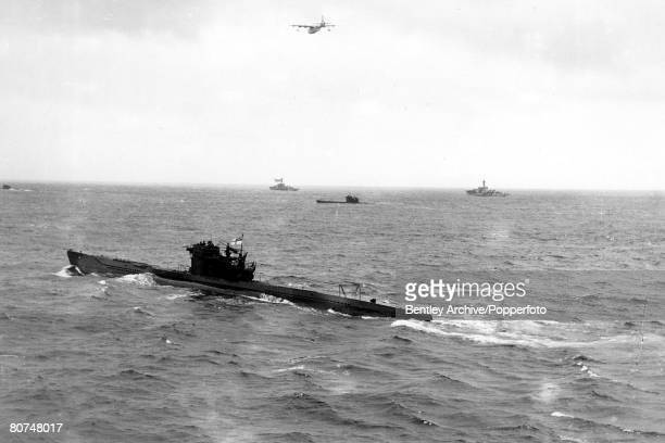 May 1945 German U Boats escorted by British destroyers and seaplane heading for Londonderry after the German surrender
