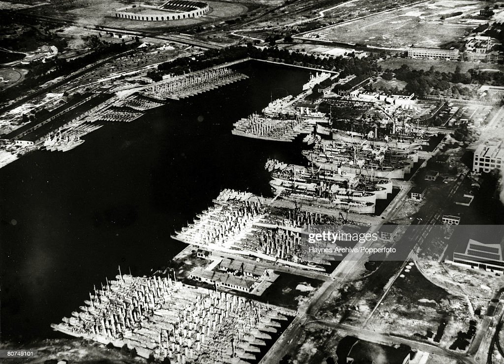 October 1940 An aerial view of over age destroyers of the USNavy in the Philadelphia dockyard 50 of which were transferred to Britain to bolster the...