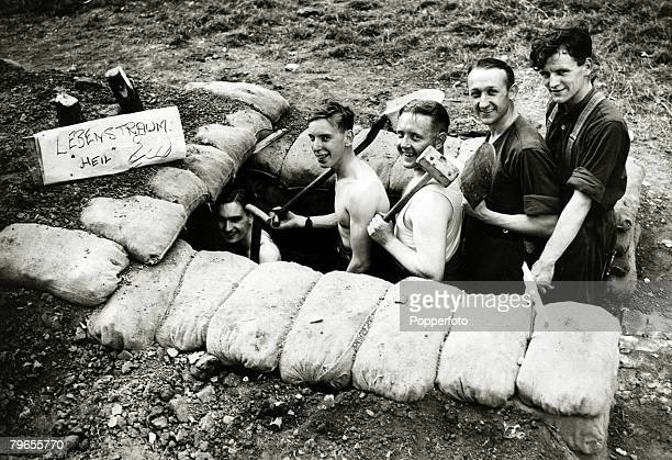 September 1939 Great Britain Men of an antiaircraft battery in London at their dugout which they have nicknamed 'Lebenstraum' one of Adolf Hitler's...
