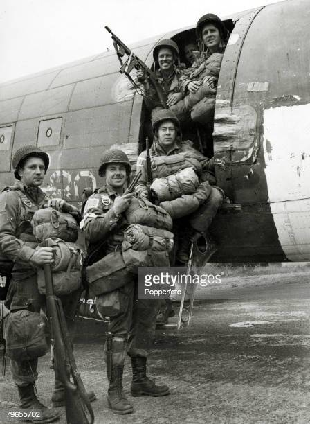 September 1944 Allied paratroopers are all smiles before they board the plane to take part in the airborne assault on the Germans at Arnhem Holland