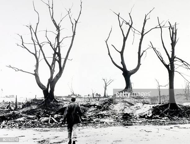 September 1945 A scene of devastation after the American Atom bomb attack on Hiroshima Japan which was dropped on 8th August 1945