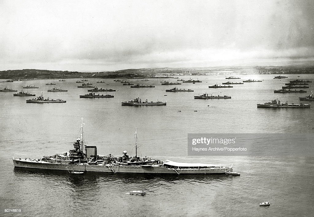 War and Conflict World War Two Royal Navy pic 1939 British destroyer 'Wivern' in the foreground with other Royal Navy ships at Weymouth Dorset
