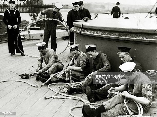 War and Conflict World War Two Royal Navy pic October 1939 British sailors on a battleship at work on new ropes