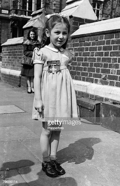 War Conflict 7th May 1948 London England 5 year old Tania Szabo daughter of the World War Two heroine Violette Szabo proudly displays the George...