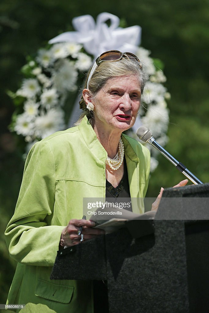 War corrspondent and historian Jane Hamilton-Merritt delivers remarks during a memorial and wreath-laying ceremony at the plaque dedicated to the U.S. Secret Army in the Kingdom of Laos in Arlington National Cemetery May 10, 2013 in Arlington, Virginia. Supported by the United States and the Central Intelligence Agency from 1961 to 1973, the secret army of Hmong and Lao combat soldiers fought in the jungles of Southeast Asia during the Vietnam War.