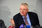 War crimes suspect and former Serbian Radical Party leader Vojislav Seselj holds a press conference at the headquarters of the party in Belgrade...