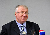 War crimes suspect and nationalist Serbian Radical Party leader Vojislav Seselj holds a press conference at the Serbian Radical Party headquarters in...