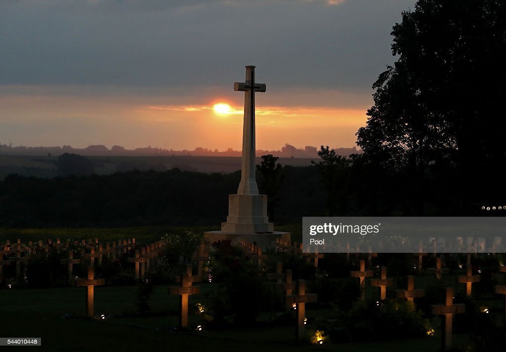 War graves are lit during part of a military-led vigil to commemorate the 100th anniversary of the beginning of the Battle of the Somme at the Thiepval memorial to the Missing on June 30, 2016 in Thiepval, France. The event is part of the Commemoration of the Centenary of the Battle of the Somme at the Commonwealth War Graves Commission Thiepval Memorial in Thiepval, France, where 70,000 British and Commonwealth soldiers with no known grave are commemorated.