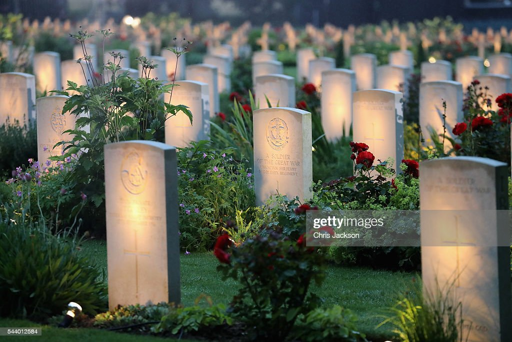 War graves at Thiepval Memorial to the Missing of the Somme during Somme Centenary Commemorations on June 30, 2016 in Thiepval, France.