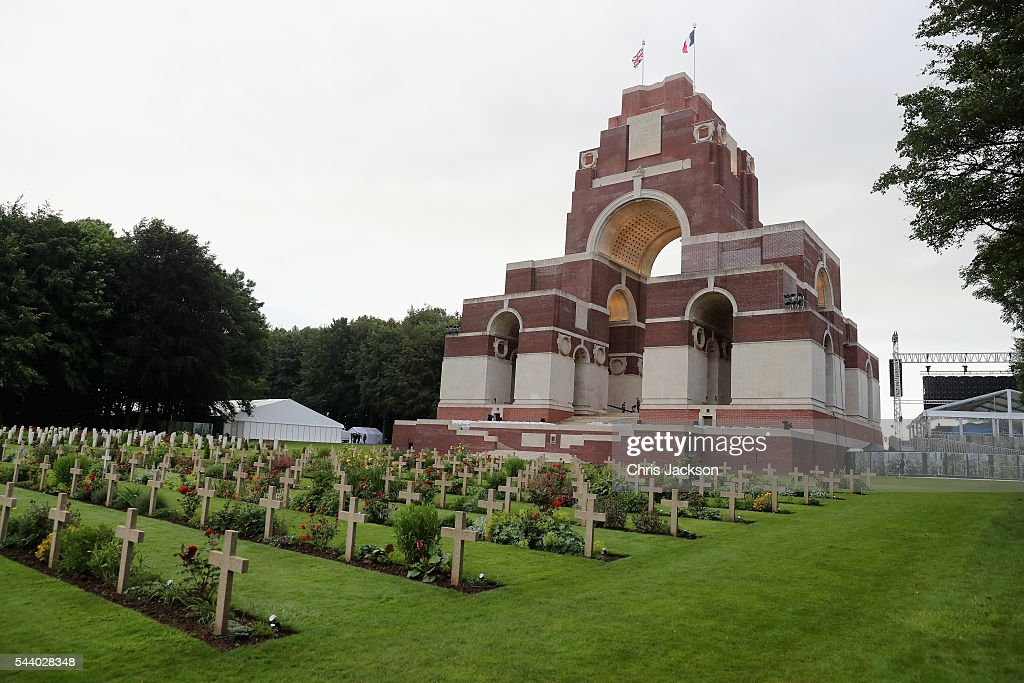 War graves at Thiepval Memorial to the Missing of the Somme during Somme Centenary Commemorations on July 1, 2016 in Thiepval, France.