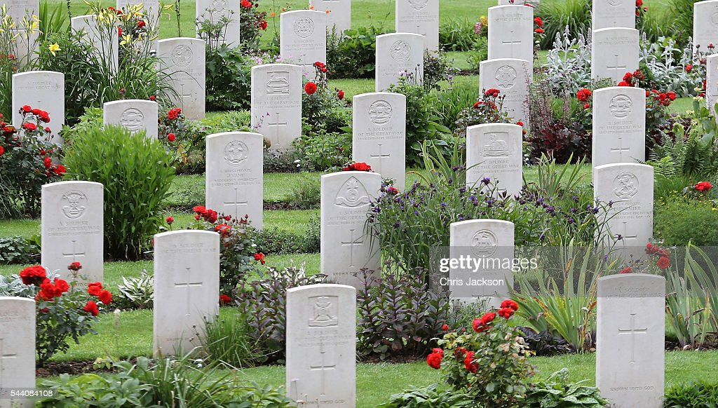 War graves at Thiepval Memorial to the Missing of the Somme during Somme Centenary Commemorations on July 1, 2016 in Thiepval, France. Today marks exactly 100 years since the beginning of the battle of the Somme.