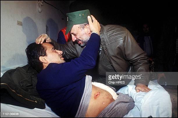 War injured people leave Tripoli in Lebanon on December 19th1983