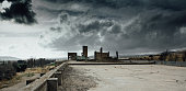 Apocalyptic war landscape. The remains of destroyed building