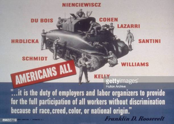 War Manpower Commission poster entitled 'Americans All' depicts a group of men at work of a tank each man named in such a way as to suggest their...