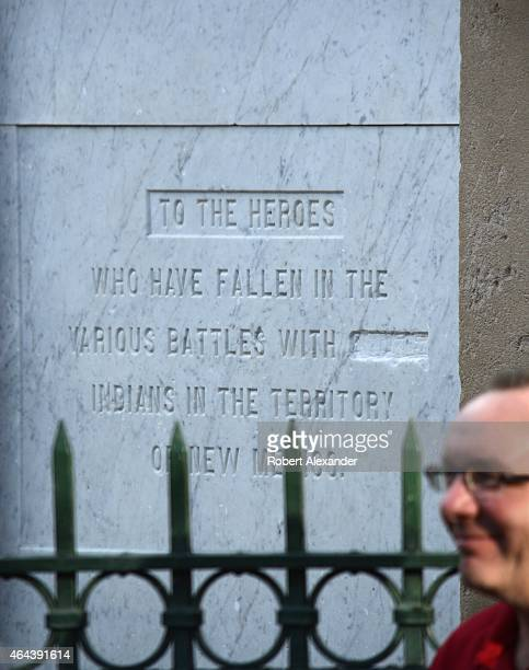 A war memorial obelisk erected in the historic Plaza in Santa Fe New Mexico was dedicated 'to the heroes who have fallen in the various battles with...