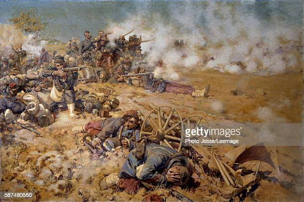 Line of fire at the battle of Rezonville August 16 1870' Painting by PierreGeorges Jeanniot 1886 2x3 m BeauxArts Museum Pau France